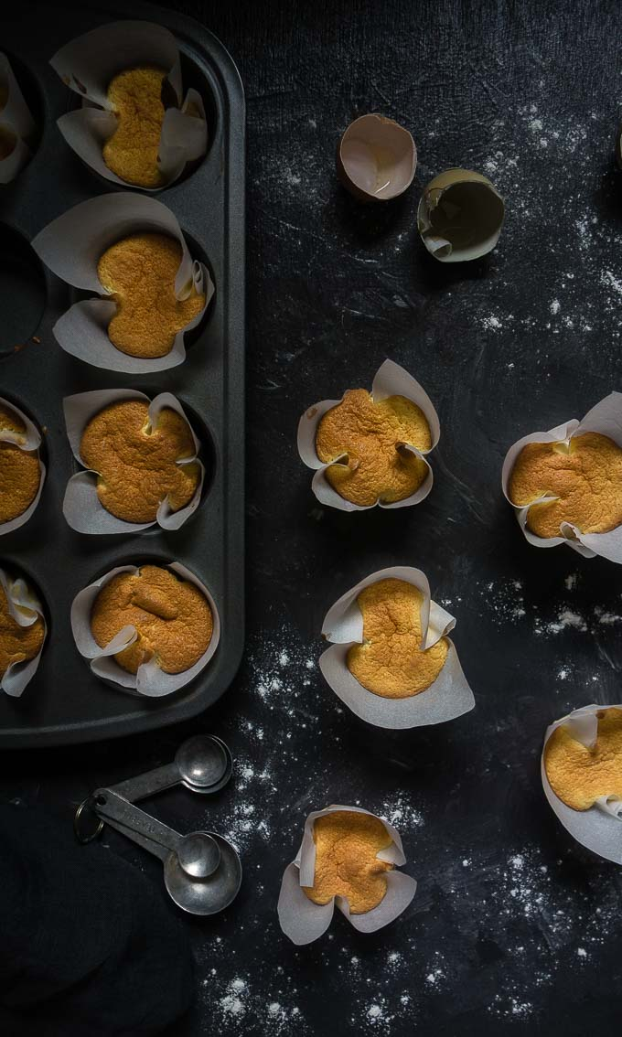 vietnamese sponge cakes in muffin tin with parchment paper