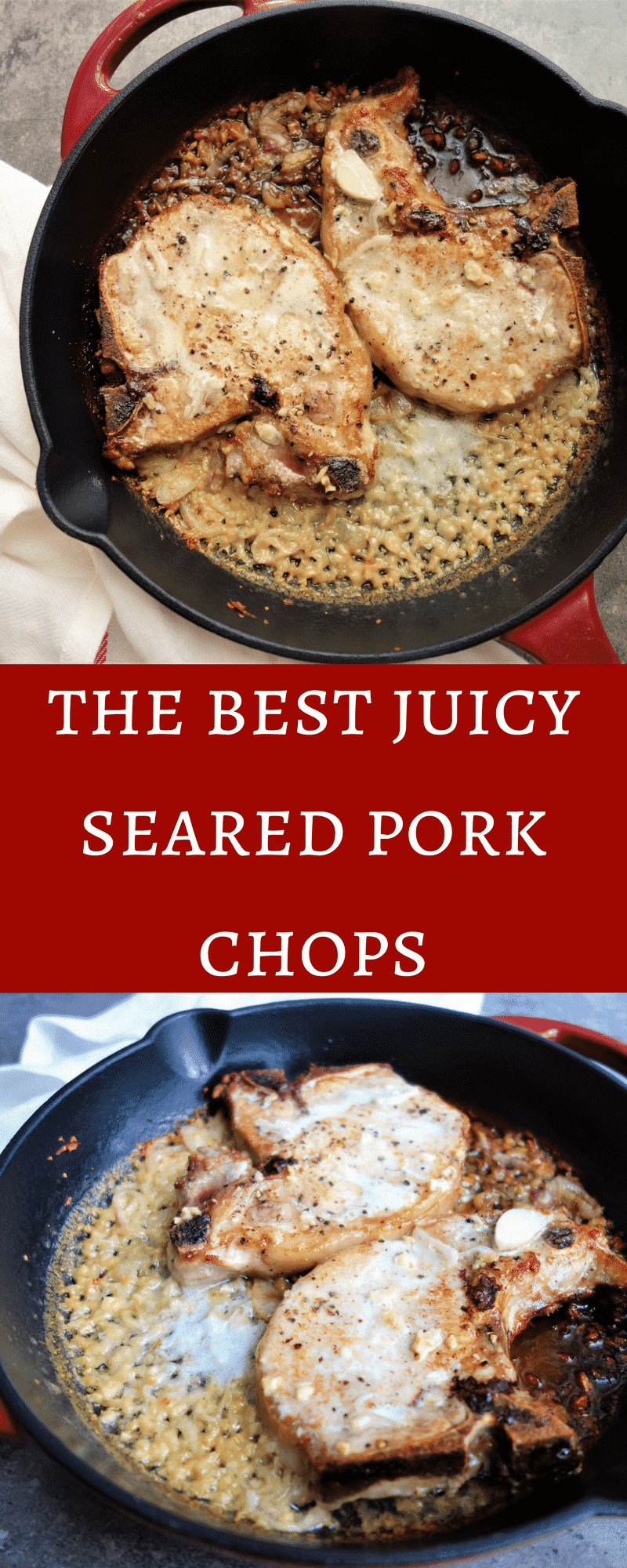 The Best Juicy Seared Pork Chops with Creamy Shallot and garlic Sauce.