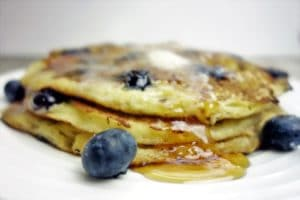 The Most Delicious Blueberry Cornmeal Pancakes