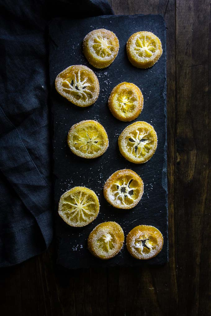 candied lemon slices coated with sugar
