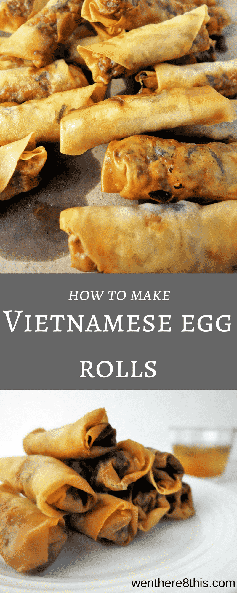 Learn how to make Vietnamese egg rolls with nuoc cham dipping sauce! It's impossible to just eat one of these little pieces of heaven.egg roll recipes, easy vietnamese egg rolls, Vietnamese spring rolls, Vietnamese fried spring rolls, Vietnamese fried egg rolls, fried spring rolls easy, fried spring rolls recipe, egg rolls recipes easy