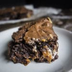 caramel marshmallow crunch brownie up close