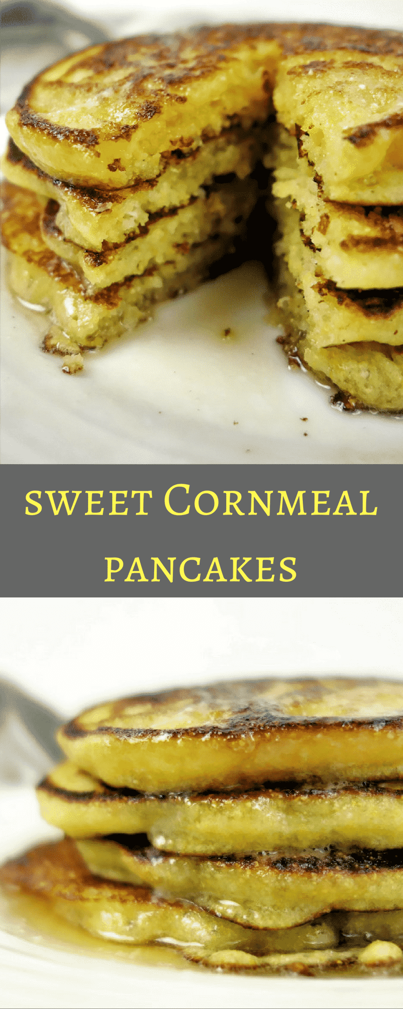 Deliciously Sweet and Savory Cornmeal Pancakes are remnant of Southern made sweet cornbread, served with honey and warm butter. Pancake recipes, cornmeal pancake recipes, breakfast recipes, cornmeal recipes,
