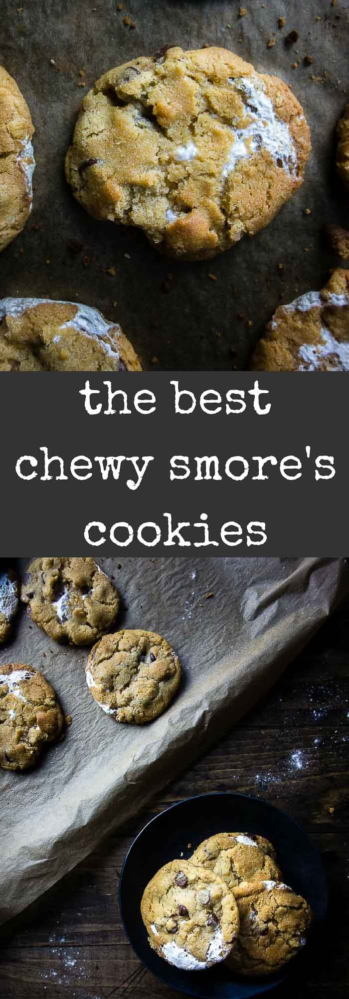 These Chewy S'mores Cookies are made with graham crackers and chocolate chips, then stuffed with marshmallow fluff for the best chewy cookies ever! The boyfriend's all time favorite cookies!!S'mores | marshmallow cookies | easy S'mores cookies | graham cracker cookies | easy cookies | chewy smores cookies | smores chocolate chip cookies | smores stuffed cookies