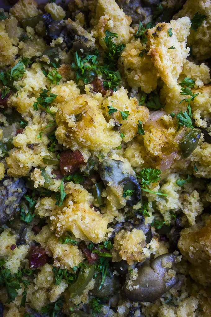 easy oyster stuffing recipe - vlose up photograph of oyster stuffing