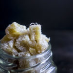 close up of homemade candied ginger