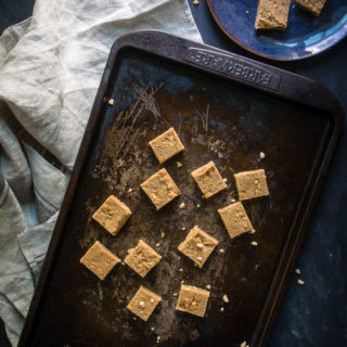 salted toffee peanut butter fudge on baking sheet