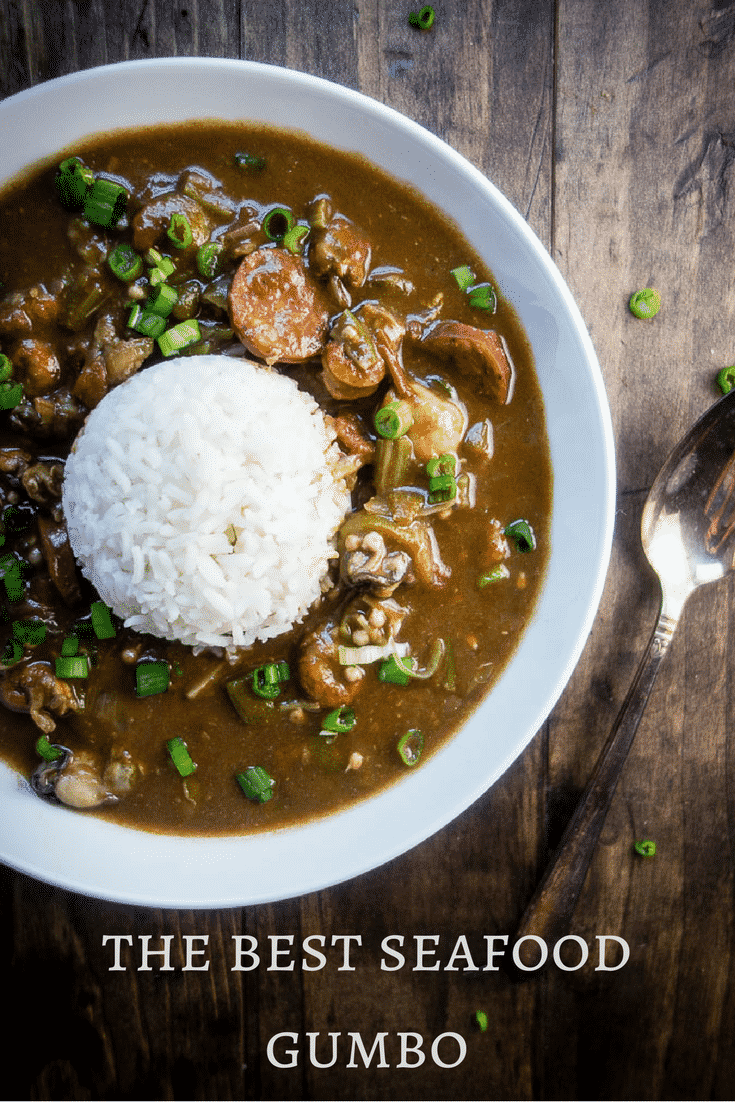 This Louisiana Seafood Gumbo with Okra is packed full of seafood including shrimp, crawfish, oysters, crab and andouille sausage - plus it only takes 40 minutes to make!new orleans style gumbo | hearty gumbo | southern style gumbo | best seafood gumbo | easy gumbo recipe | quick gumbo recipes | creole gumbo | crab gumbo | oyster gumbo | sausage gumbo | dark roux | how to make gumbo | learn to make gumbo | one pot meals
