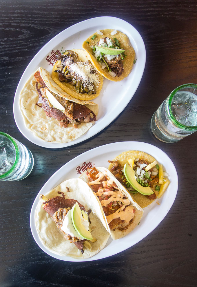 6 tacos on 2 plates, tacos in downtown san diego