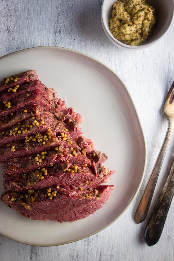corned beef on a plate sliced