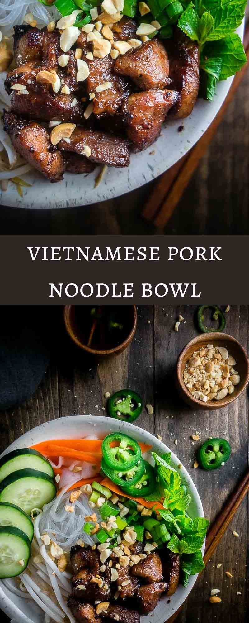 Tender pieces of marinated pork, stir fried until crisp on a bed of rice noodles, bean sprouts, and fresh herbs and served with Vietnamese dipping sauce (nuoc cham), this Vietnamese Pork Noodle Bowl is delicious and super easy to make.bun thit nuong | easy pork noodle bowl | healthy pork noodle bowl | vietnamese pork | vermicelli bowl | vietnamese pork vermicelli | caramelized pork noodle bowl | lemongrass pork noodle bowl | quick vietnamese noodle bowls