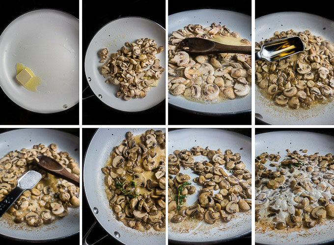 step by step process for sauteing mushrooms
