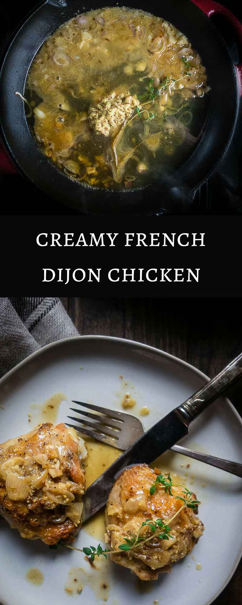Possibly the best chicken recipe ever, this chicken braised in white wine and Dijon mustard is first browned to keep in all the juices, then braised in a sauce of white wine and grainy Dijon mustard. And all in less than an hour to the table!chicken dijonnaise | chicken with wine sauce | french cooking | french chicken | chicken with mustard sauce | white wine mustard sauce |  creamy french mustard chicken | skillet dijon chicken | dijon braised chicken
