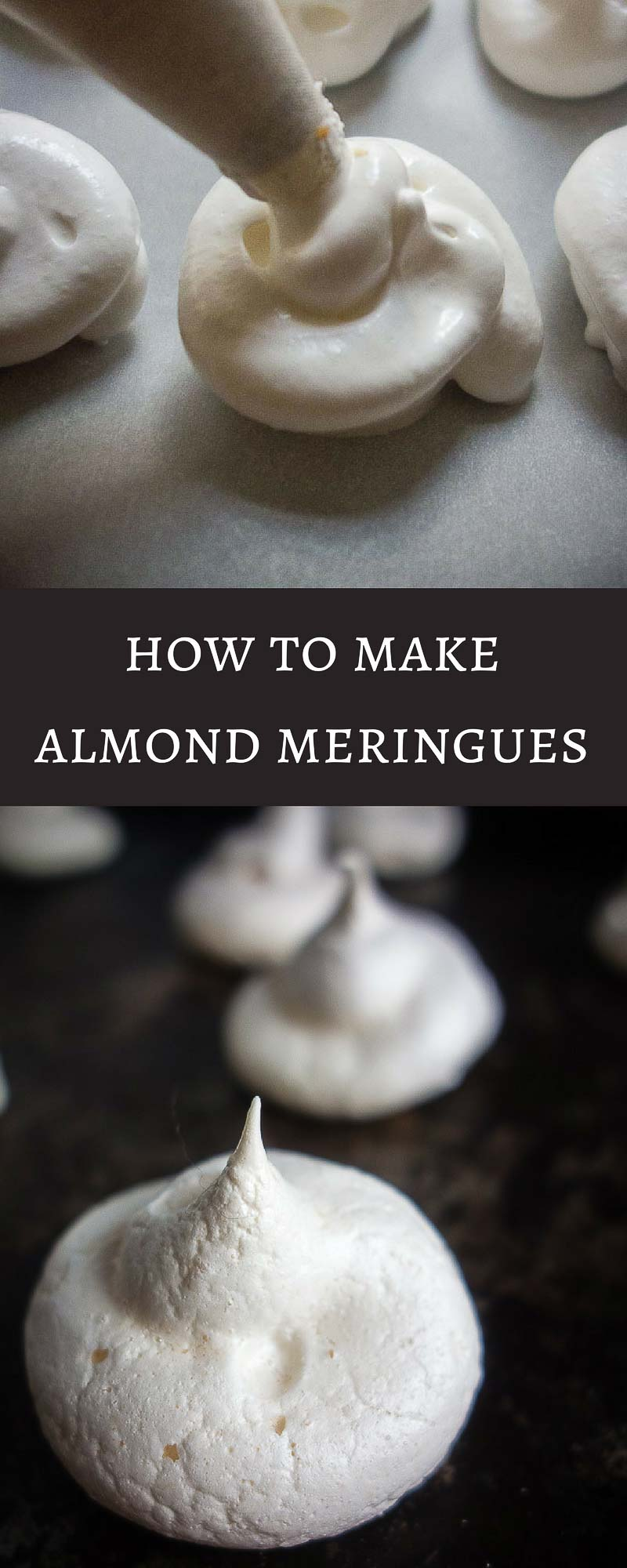If you're intimidated by making meringues, don't be! Learn how to make these super easy Almond Meringues...light and crisp on the outside, with a slightly chewy center, these sweet little morsels of goodness are super addictive!meringue cookies | french meringue | meringue kisses | easy meringue | egg white recipes | almond desserts | french desserts | french cookies | macarons | almond macarons | meringue dessert | best meringue recipe | best almond meringues