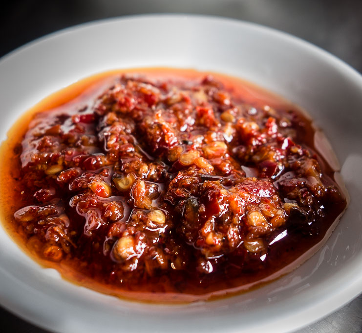 spicy chili oil in a dish