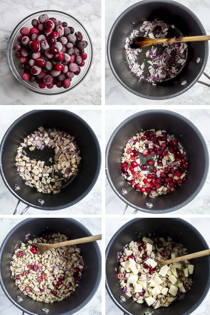 step by step photos for making cranberry stuffing