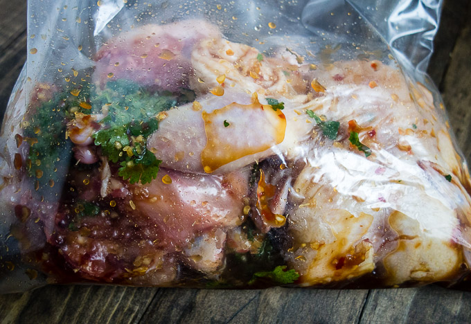 raw chicken in bag with marinade