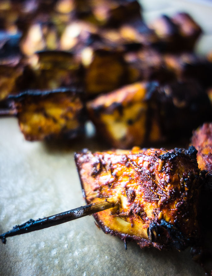close up of piece of grilled eggplant