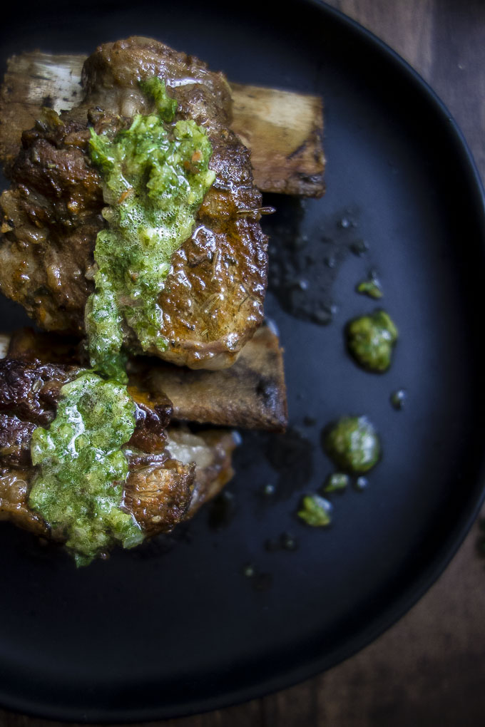 instant pot braised beef short ribs with chimuchurri sauce