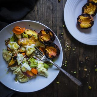 grilled peach tortellini salad with grilled peaches on side