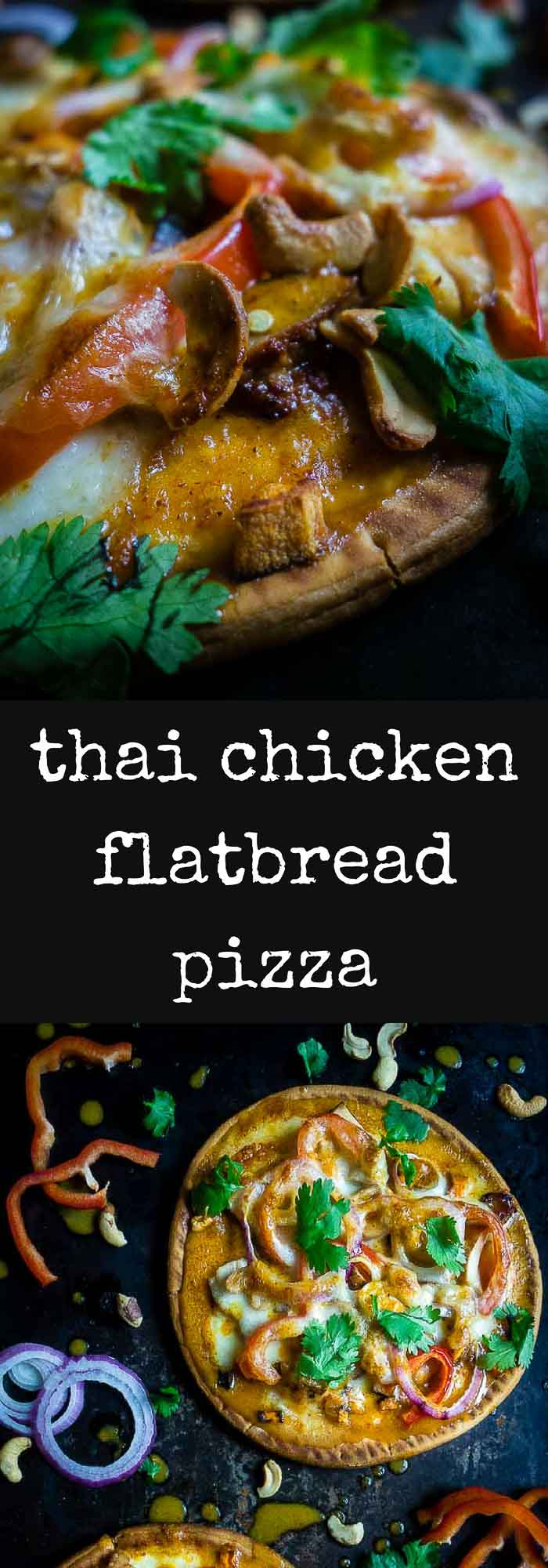 This Thai chicken flatbread pizza is smothered in yellow curry sauce and topped with chicken, vegetables, mozzarella cheese and cashews for a unique twist!cashew chicken flatbread | flatbread pizza | thai marinade | thai chicken flatbread | thai yellow curry | thai pita pizza | thai chicken pizza | pita pizza with curry sauce | curry pizza | spicy thai pizza | spicy peanut sauce | creamy pizza sauce | best pizza recipe | 20 minute meals