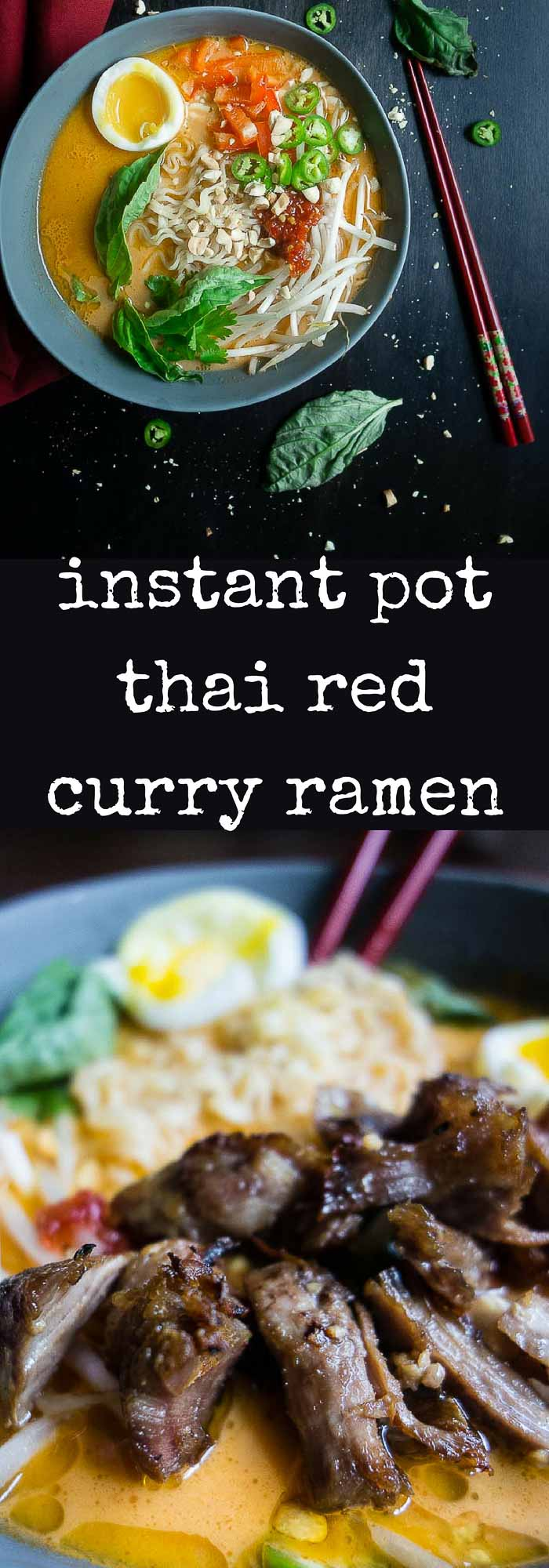 Thai Red Curry Ramen packed with delicious flavors like red curry paste, coconut milk, and melt-in-your-mouth caramelized pork ready in 1 hour!curry noodle soup| red curry ramen | thai ramen| coconut curry soup | thai noodle soup | instant pot soup | instant pot curry | caramelized pork ramen | instant pot pork | chashu | curry coconut ramen