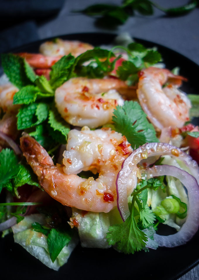 close up of thai shrimp in pla goong