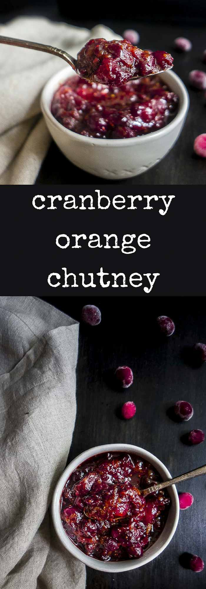 This 20 Minute Cranberry Orange Chutney recipe has the perfect combination of sweet, tart and savory flavors for a delicious condiment! #thanksgivingrecipes #cranberries, #frozencranberries, #cranberriesforallseasonsorange cranberry sauce | orange cranberry chutney | cranberry ginger chutney | cranberry relish | cranberry jam | cranberry sauce | cranberry chutney | holiday recipes | thanksgiving recipes