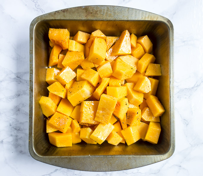 roasted butternut squash in a pan