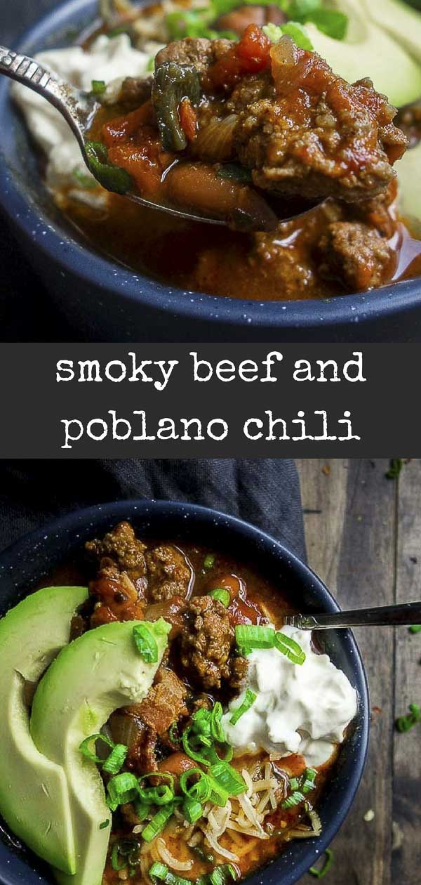 This Instant Pot Beef Chili is the ultimate comfort food with roasted tomatoes & poblano peppers, chipotle peppers, beans, and BACON. Perfect game day recipe!! #beefchili #instantpotrecipesroasted poblano chili | beef chili | instant pot chili | one pot beef chili | smoky beef chili | hearty chili | best chili recipes | pinto bean chili | cheesy beef chili | spicy beef chili | 30 minute beef chili | pressure cooker quick chili | poblano chili | smoky beef chili