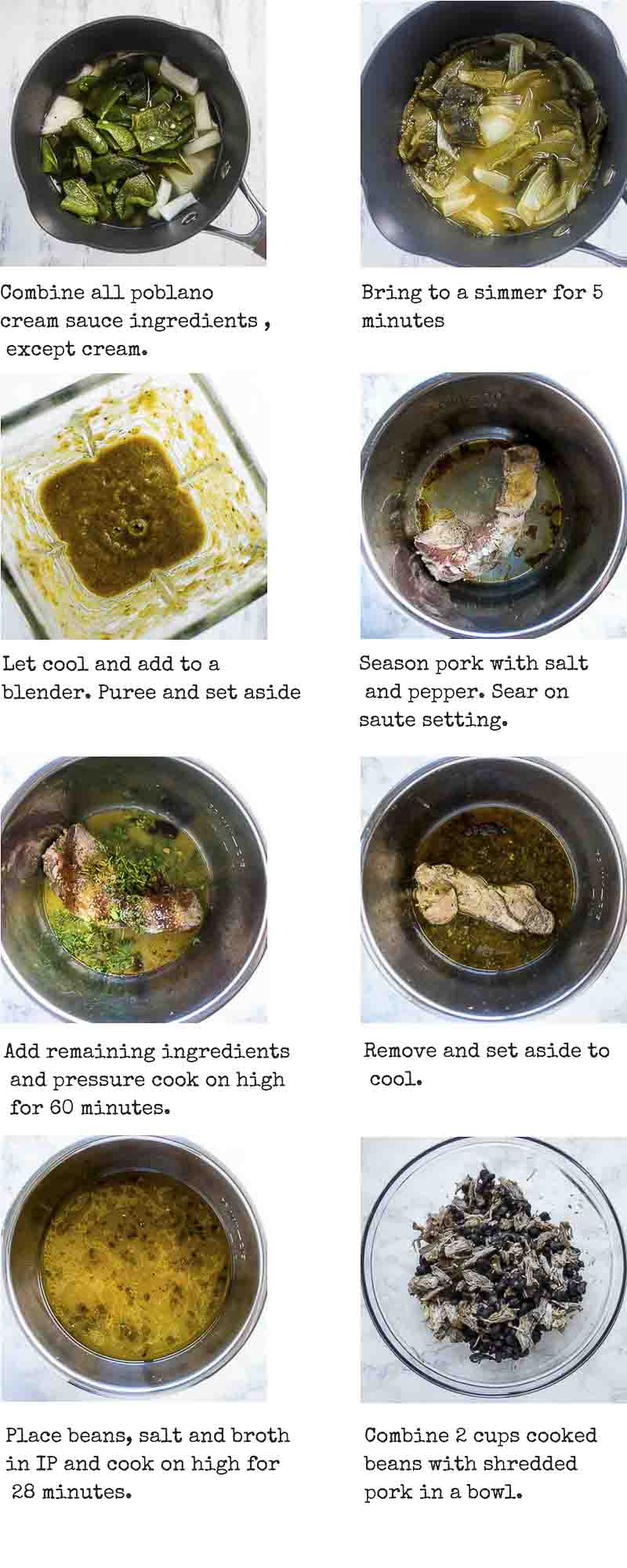 Step by step instructions for poblano cream sauce and pulled pork