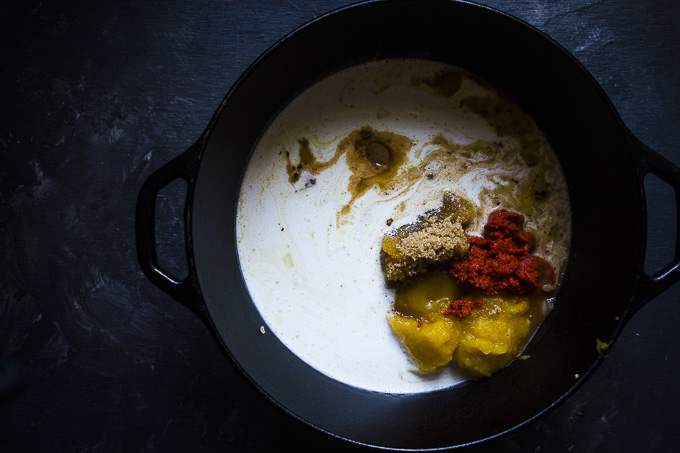 ingredients for coconut curry pumpkin soup in pot