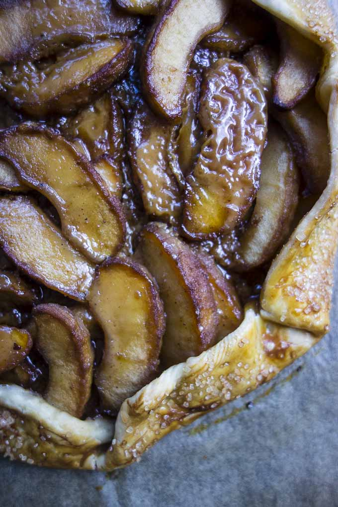 close up of apples in easy salted caramel apple galette